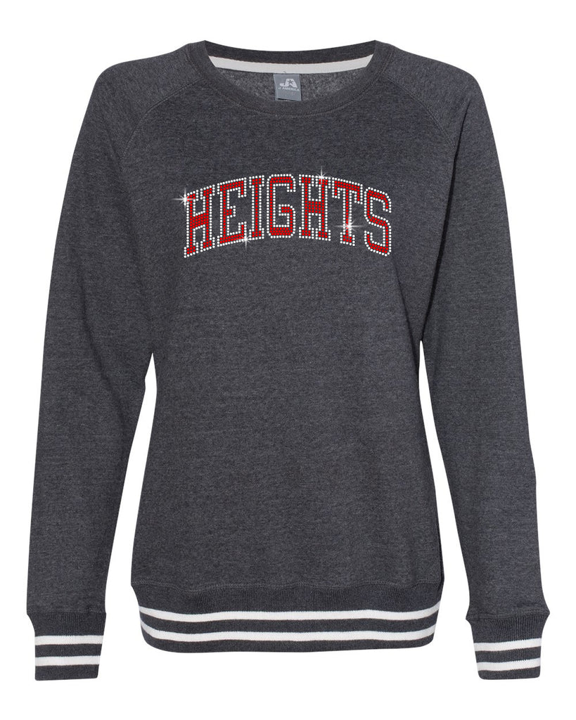 Heights Black Woman's Relay Crew Neck Sweatshirt w/ Height ARC Design in SPANGLE on Front.