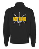 West Milford Fencing Black Nublend® Cadet Collar Quarter-Zip Sweatshirt - 995MR w/ WM Crossed Swords Design on Back.