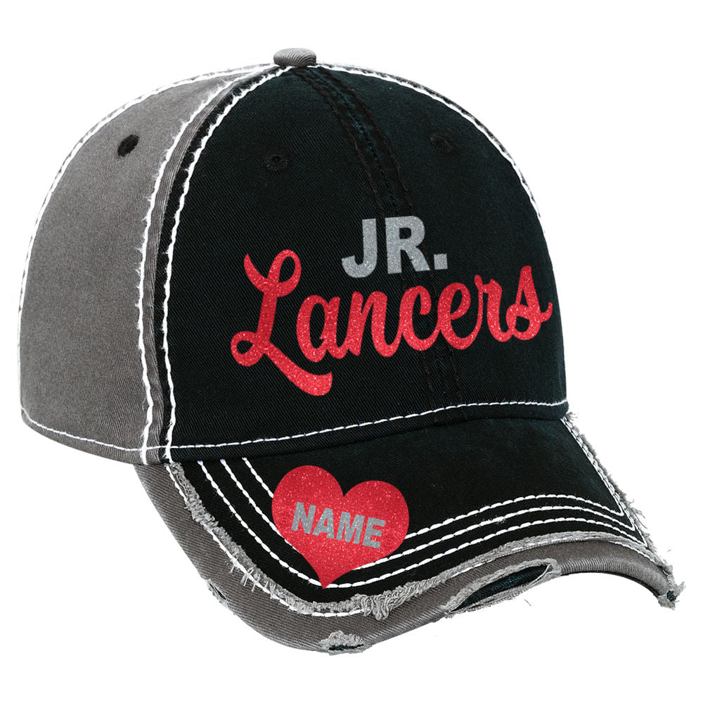 Jr Lancers Glitter Hat with Optionial Name in Heart Graphic