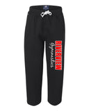 Riverview Gymnastics Black J. America - Premium Open Bottom Sweatpants w/ 2 Color Design on Front.