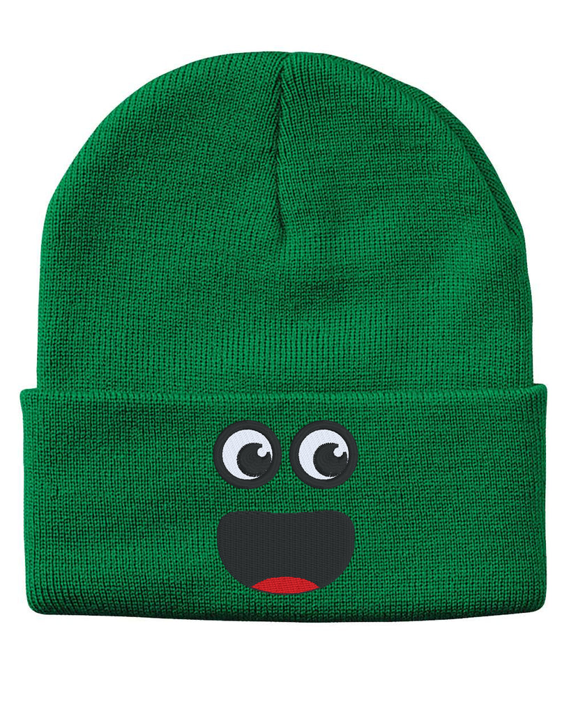 SURPRISE FACE Smile Embroidered Cuffed Beanie Hat