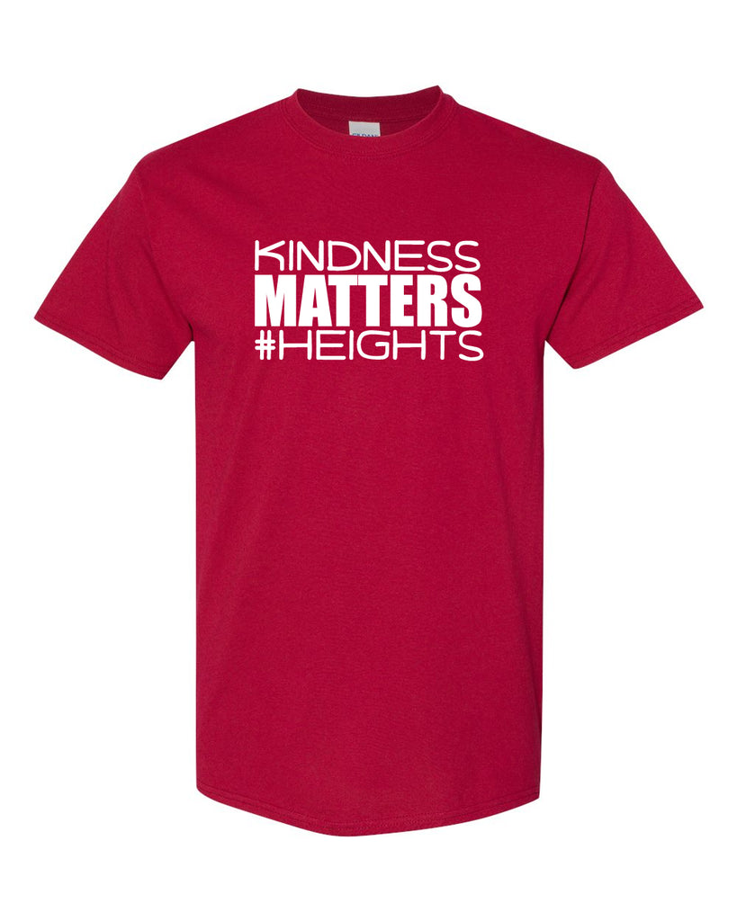 Heights Red Short Sleeve Tee w/ Kindness Matters Design in White on Front.
