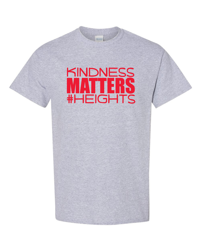 Oakland Heights School Sport Gray Short Sleeve Tee w/ Kindness Matters Design in Red on Front.