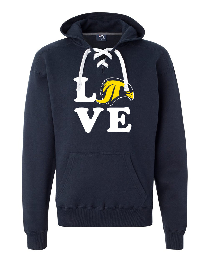 "JCPTA Navy Sport Lace Hoodie w/ Large JCPTA ""Love"" Logo on Front."