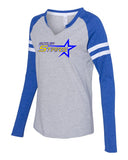 Butler Stars LAT - Women's Fine Jersey Mash Up Long Sleeve T-Shirt - 3534 w/ 2 color Design on Front.