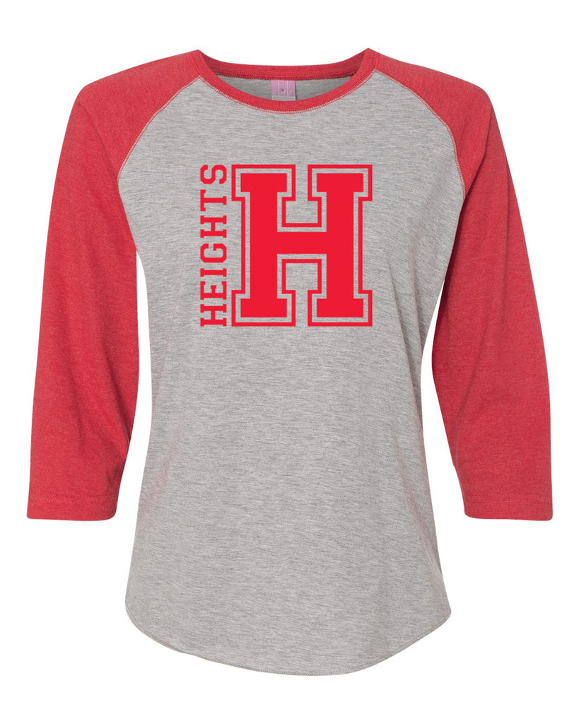 Heights LAT - Women's Baseball Fine Jersey Three-Quarter Sleeve Tee - 3530 Tee w/ Heights OG Design in Red on Front.