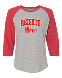 Oakland Heights LAT - Women's Baseball Fine Jersey Three-Quarter Sleeve Tee - 3530 Tee w/ Heights Mom in Red on Front.