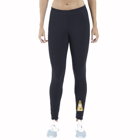 Wanaque Cheer Black Leggings w/ WC Megaphone Design Front of Left Ankle.