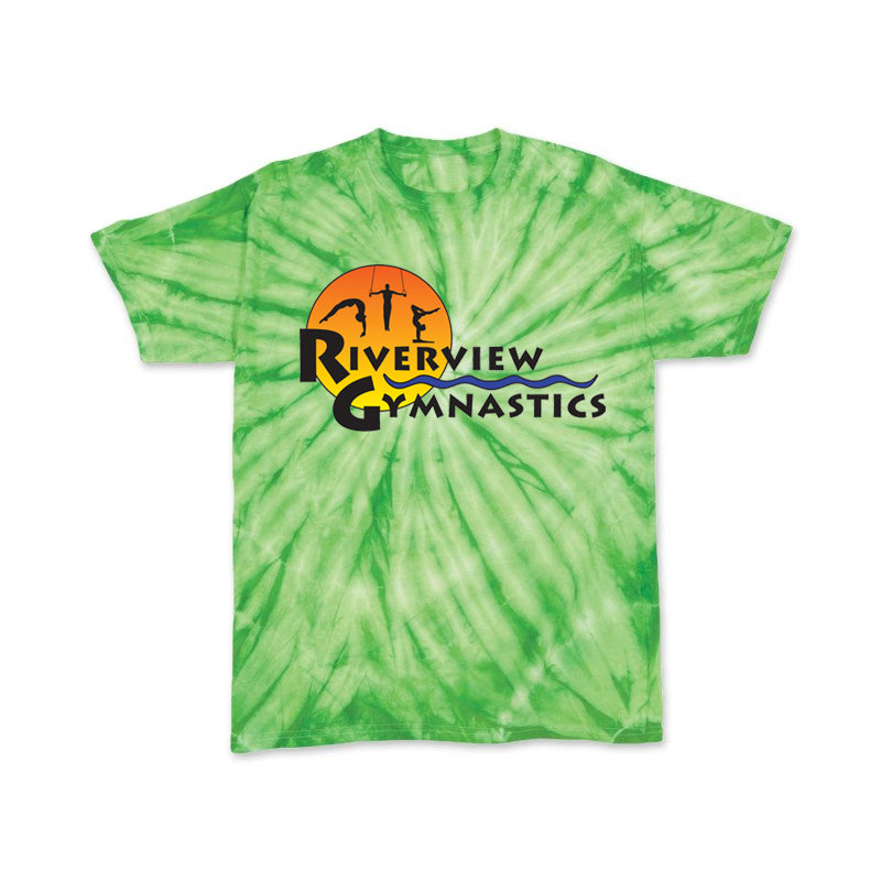 RIVERVIEW GYMNASTICS Cyclone Tie Dye Short Sleeve Tee w/ Full Color Logo on Front.