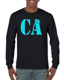 Cheer Army Black Long Sleeve Tee w/ Columbia Blue CA Logo on Front.