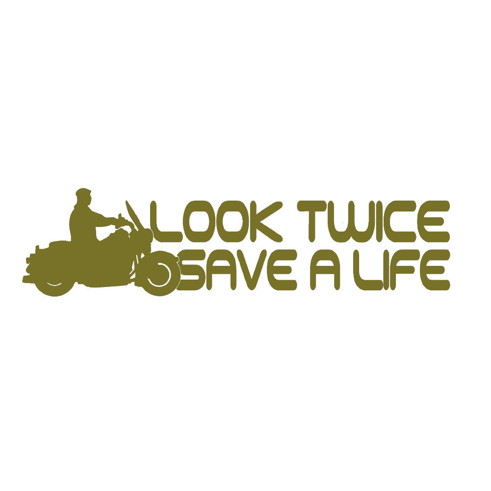 Look Twice Save A Life V1 Single Color Transfer Type Decal
