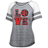 Jr Lancers Competition Cheer Advocate Striped Sleeve Shirt w/ 2 color Love Cheer Design on Front.