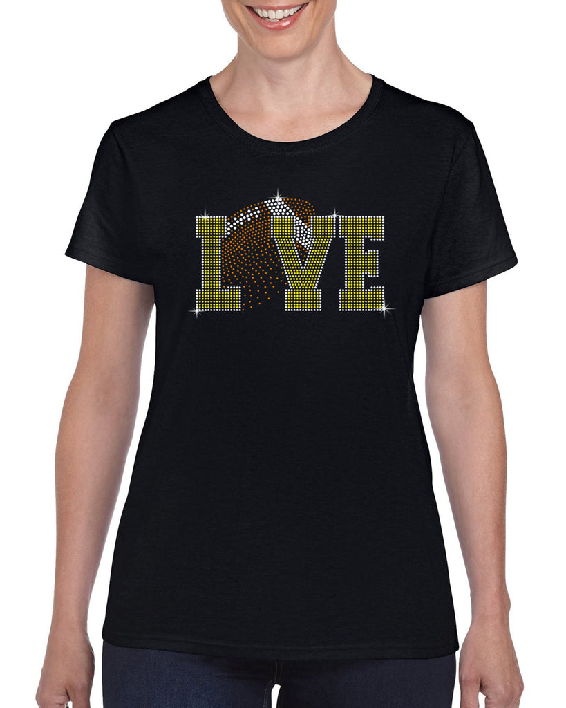 LOVE FOOTBALL FADE 211 Spangle Bling Design Shirt
