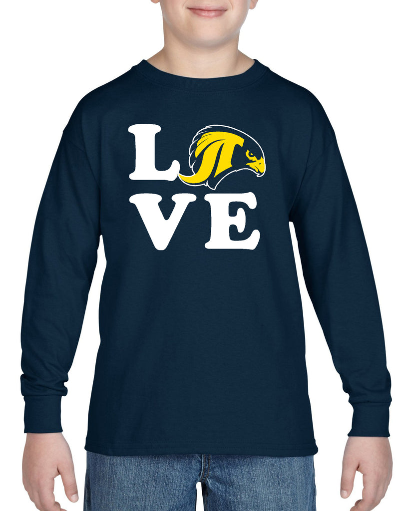 "JCPTA Heavy Cotton Navy Long Sleeve Tee w/ Large ""Love"" Logo on Front."