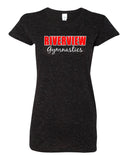 Riverview Gymnastics Black Glitter Crew T-Shirt w/ 2 Color Design on Front.
