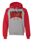 Lakeland Wrestling Raglan Hooded Sweatshirt w/ Lakeland Wrestling logo on Front.