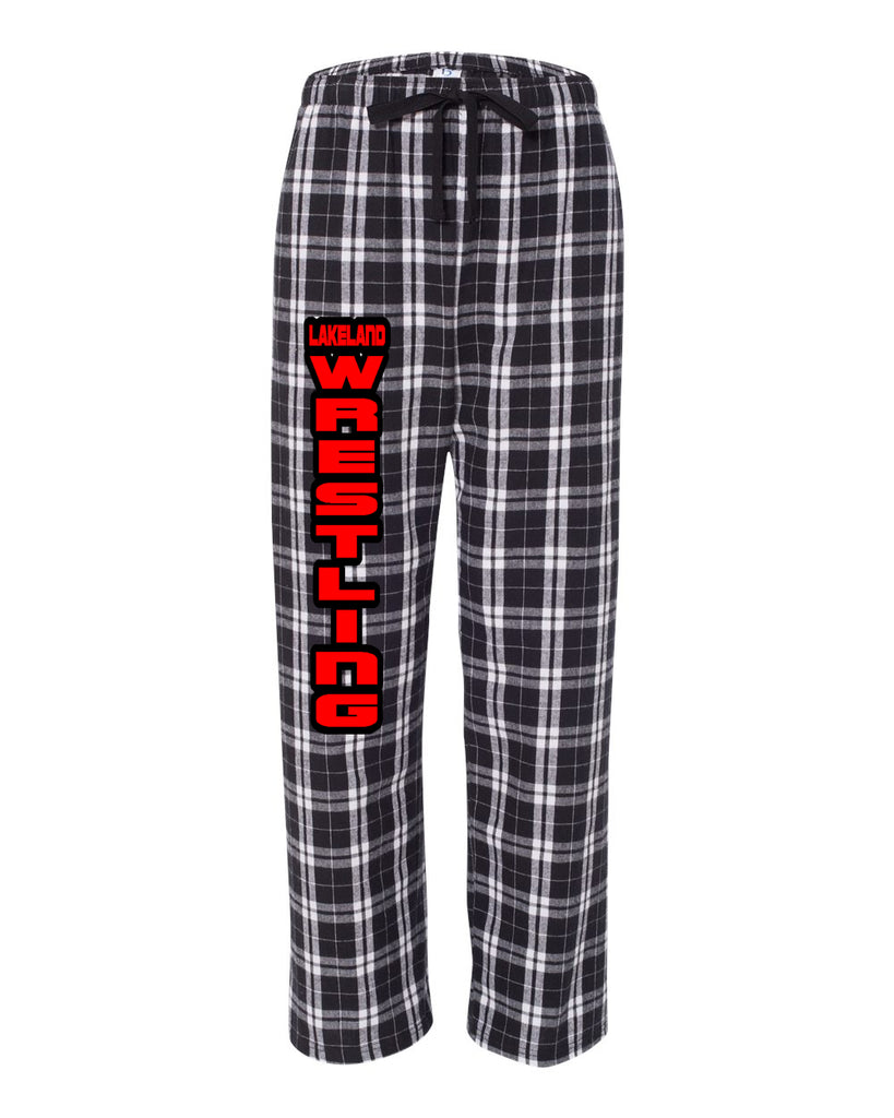 Lakeland Wrestling PJ Style Flannel Pants w/ Lakeland Wrestling Logo Down Front of Right Leg.