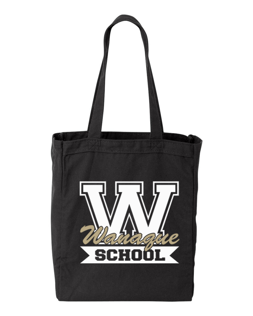 "Wanaque School Black 10 Ounce Gusseted Cotton Canvas Tote w/ Wanaque School ""W"" Logo on Front."