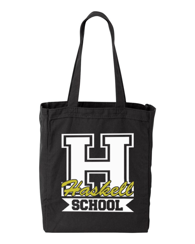 "HASKELL School Black 10 Ounce Gusseted Cotton Canvas Tote w/ HASKELL School ""H"" Logo on Front."