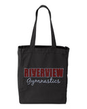 RIVERVIEW GYMNASTICS Black 10 Ounce Gusseted Cotton Canvas Tote w/ SPANGLE 2 Color Logo on Front.