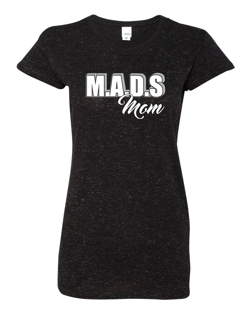 MADS Black Glitter Crew T-Shirt w/ MADS Mom Design on Front.