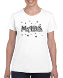 MADS White Short SLeeve T-Shirt w/ MADS Stars Design on Front.