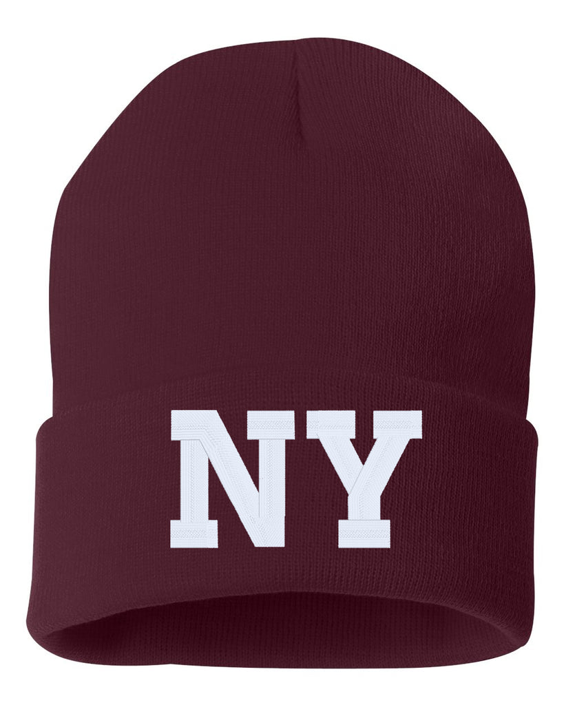 NY State Abbreviation Embroidered Cuffed Beanie Hat