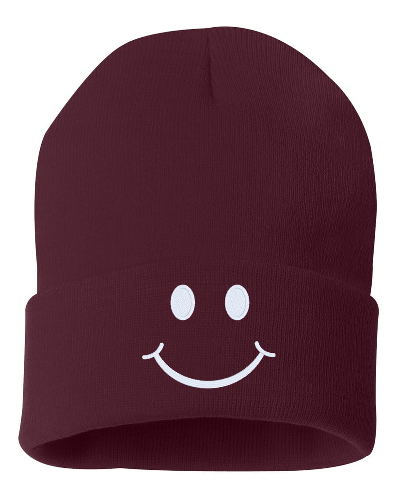 SMILE Face Embroidered Cuffed Beanie Hat
