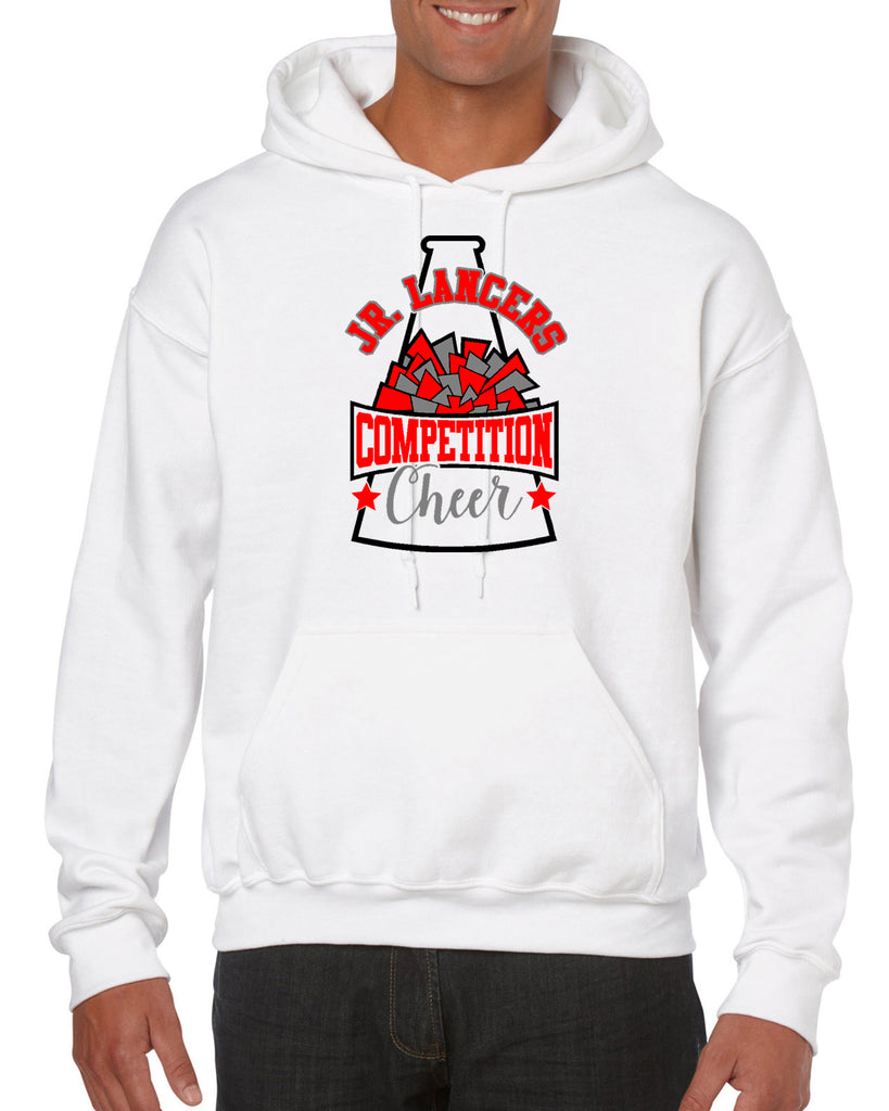 Jr Lancers Competition Cheer Heavy Cotton White Shirt w/ Megaphone 3 Color Design on Front.
