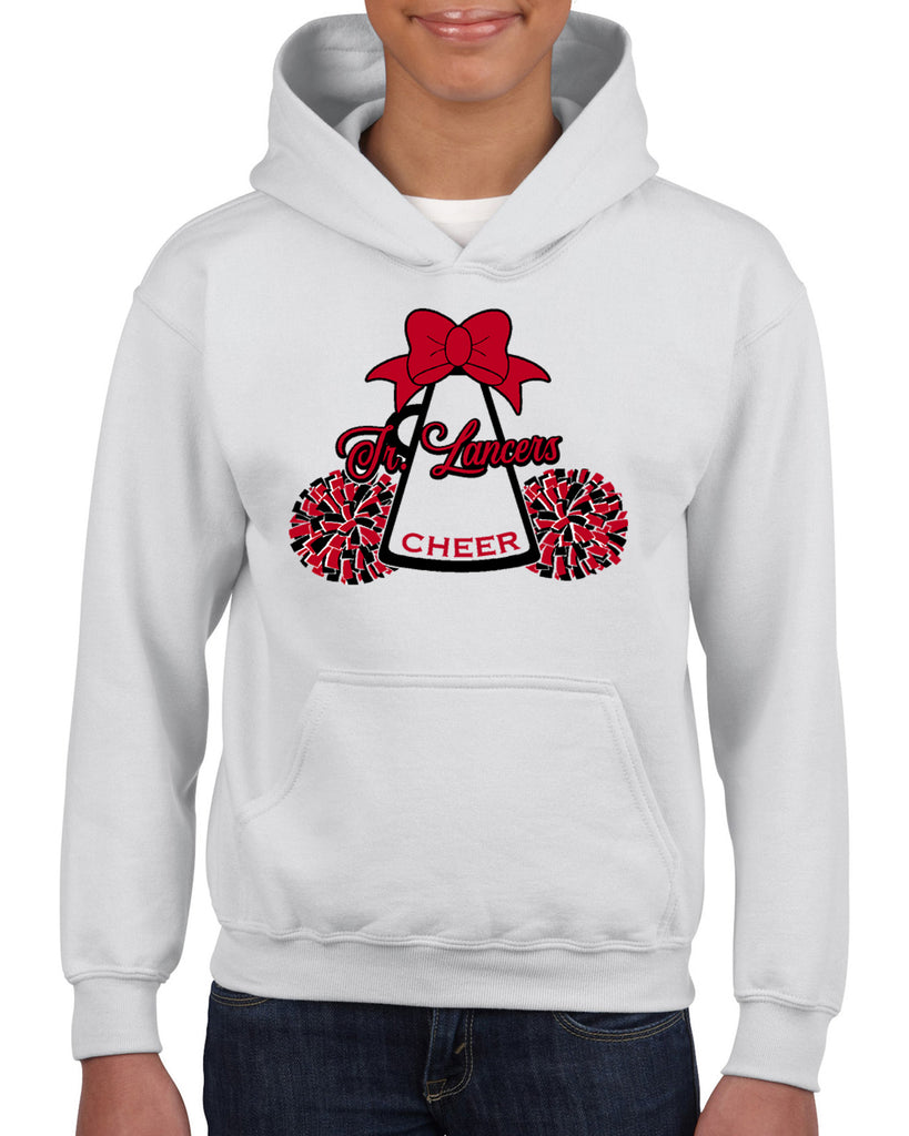 Jr Lancers Competition Cheer Heavy Cotton White Shirt w/ Mega Bow 2 Color Design on Front.