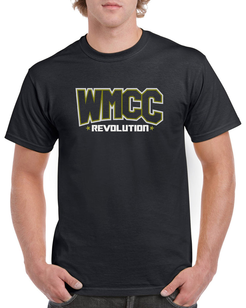 WMCC Black Short Sleeve Tee w/ WMCC Logo in 2 Color Print (non-glitter) on Front.