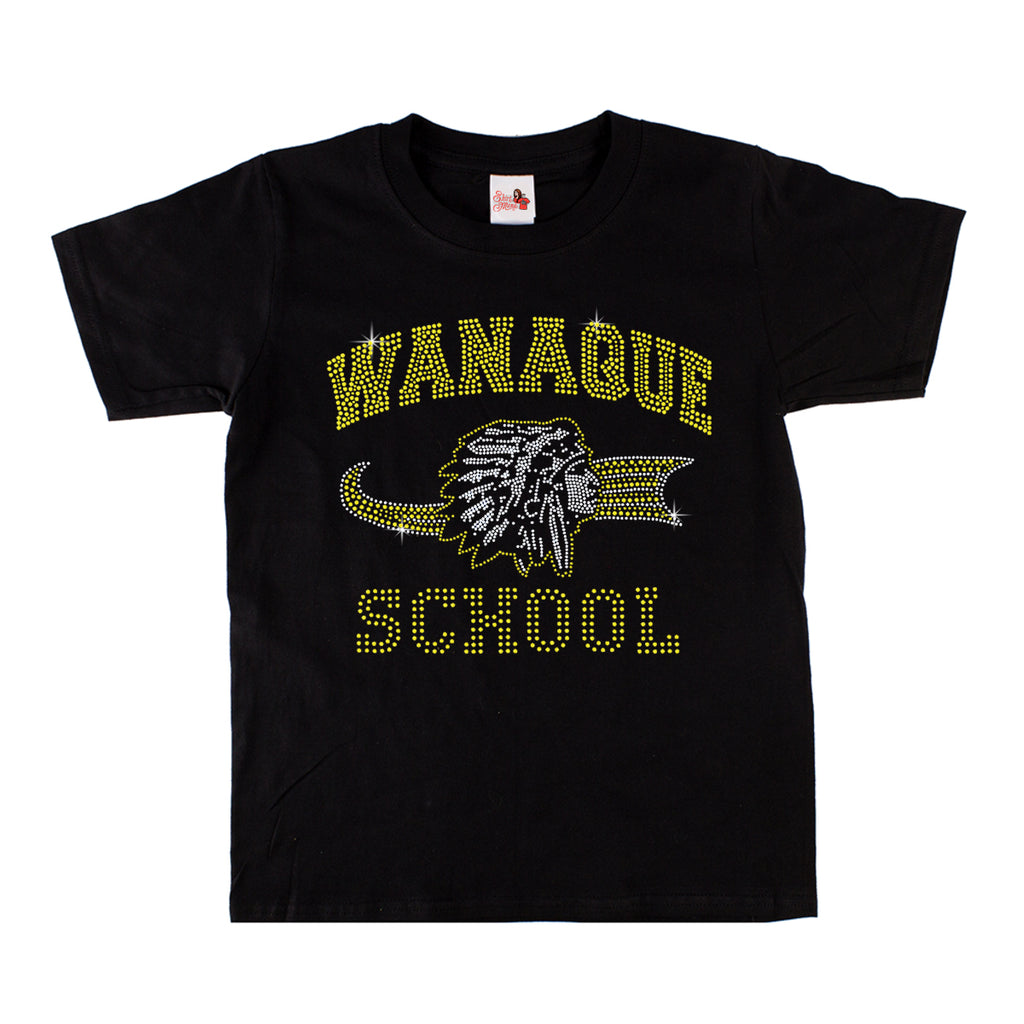 "WANAQUE  Black Short Sleeve Tee w/ WANAQUE School ""Old Style"" Logo in Spangle on Front. STYLE #2"