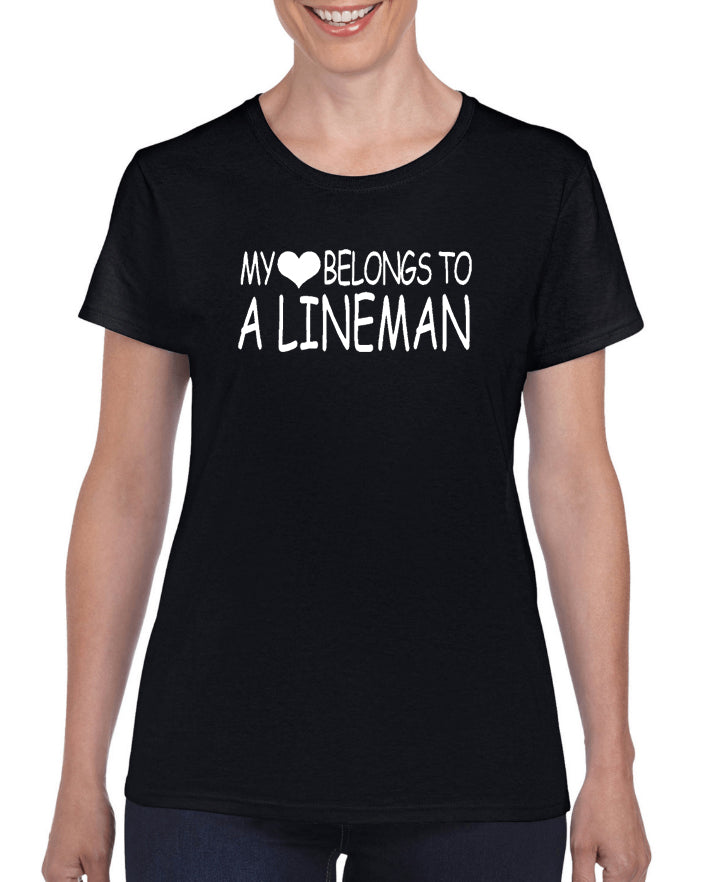 My Heart Belongs To A Lineman V1 Graphic Transfer Design Shirt