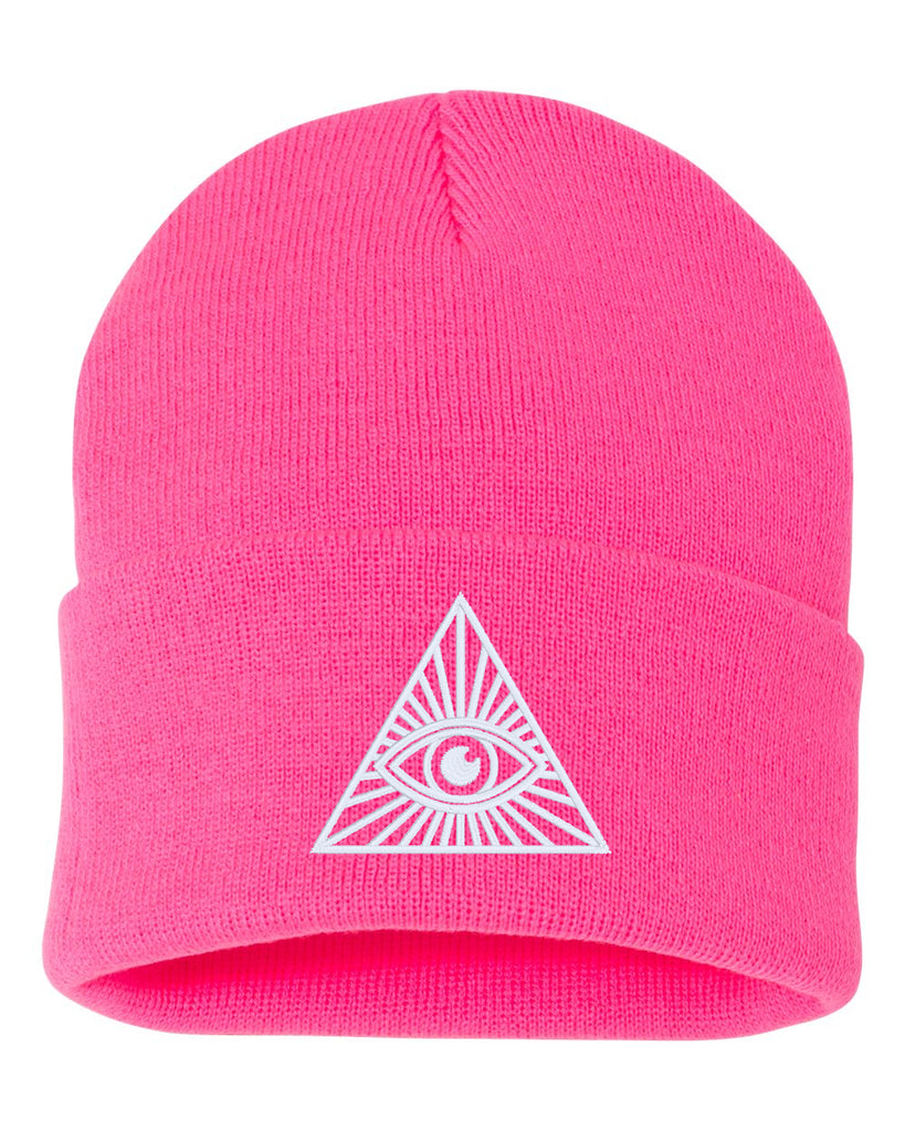 ALL SEEING EYE Embroidered Cuffed Beanie Hat
