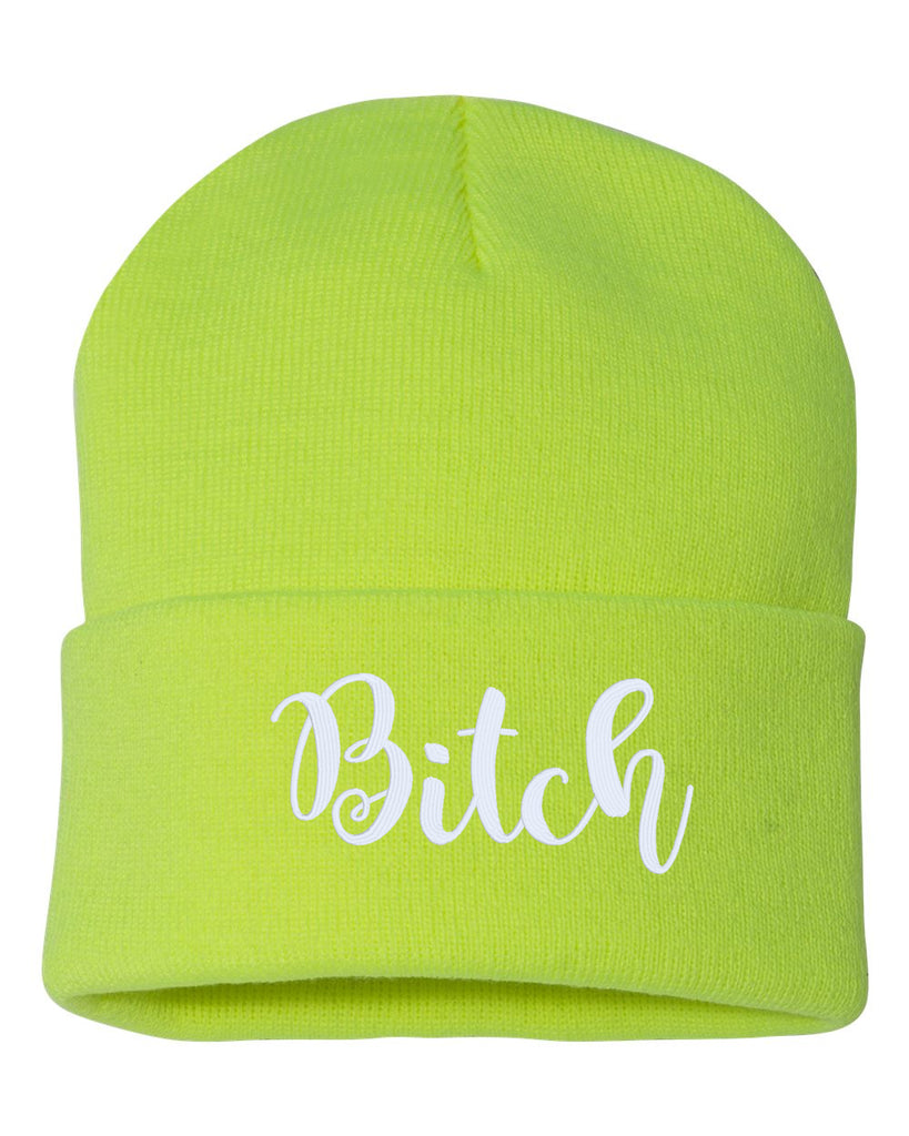 BITCH Embroidered Cuffed Beanie Hat