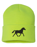 Running Horse Silhouette Embroidered Cuffed Beanie Hat