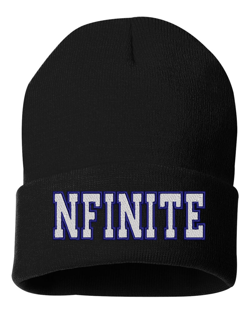 "nfinite Sportsman - Solid Black 12"" Cuffed Beanie - NFINITE Embroidered on Front."