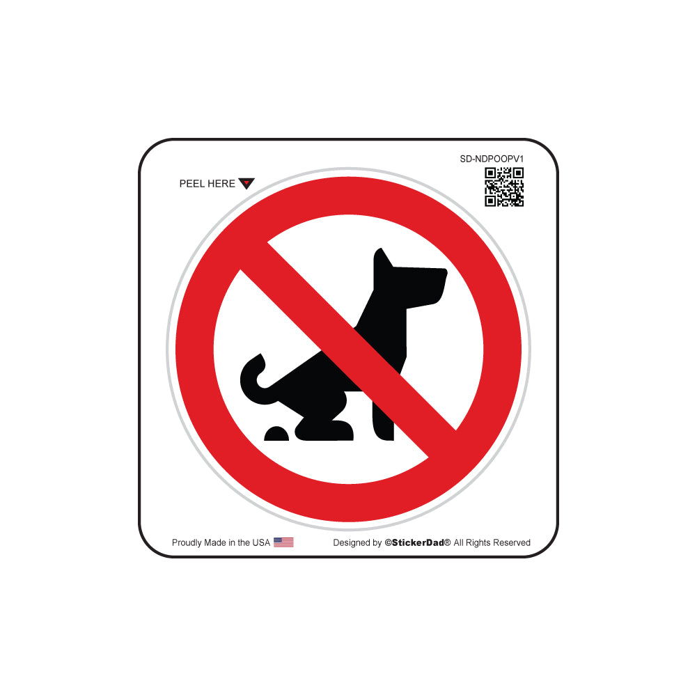 No Dog Pooping Allowed - Circle - White/Red/Black - Full Color Printed Sticker Label