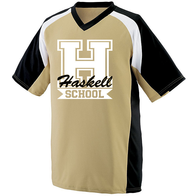 "HASKELL School Nitro Jersey Short Sleeve Tee w/ HASKELL School ""H"" Logo on Front."