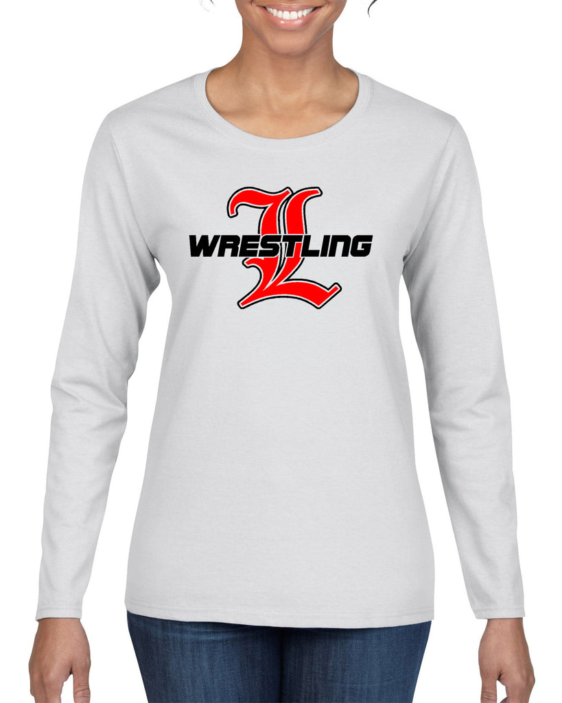 "Lakeland Wrestling White Heavy Blend Shirt w/ Lakeland Wrestling Old English ""L"" logo on Front."