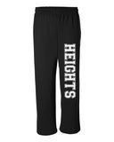 Oakland Heights School Black Open Bottom Sweat Pants w/ HEIGHTS Down Left Leg.
