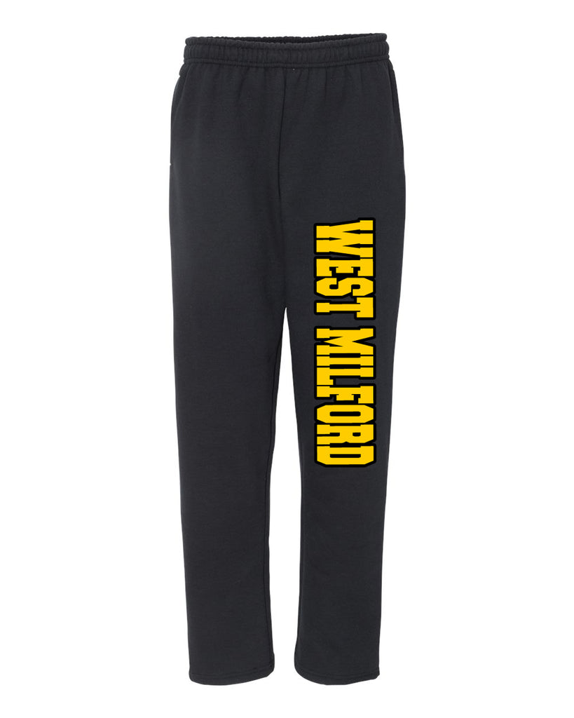 West Milford Fencing Black Open Bottom Sweat Pants w/ Design Down Left Leg.