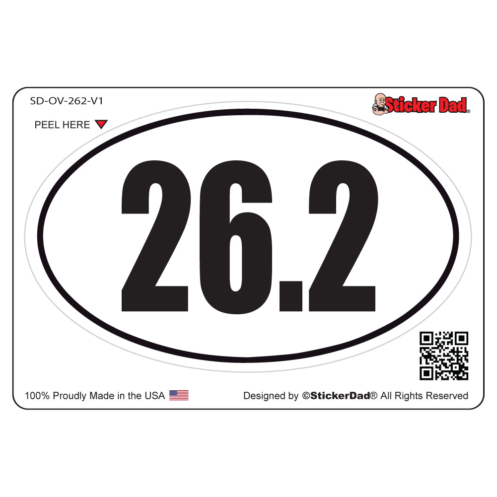 26.2 Full Marathon Runner V1 Oval Full Color Printed Vinyl Decal Window Sticker