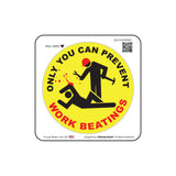 Only You Can Prevent Work Beatings V1 Round Hard Hat-Helmet Full Color Printed Decal