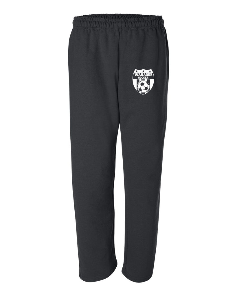 Wanaque Soccer Open Bottom Sweat Pants with Wanaque Soccer Logo on Front Left Hip
