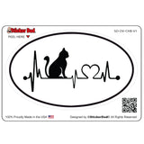 Cat Heartbeat V1 Oval Full Color Printed Vinyl Decal Window Sticker