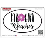 Aloha Beaches V1 Oval Full Color Printed Vinyl Decal Window Sticker