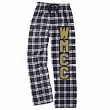 WMCC Black & White Flannel PJ Style Pants w/ Black & Gold Flat Print Logo down Leg.