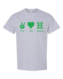Hopatcong Short Sleeve Tee w/ Peace Love Hopatcong Design on Front.