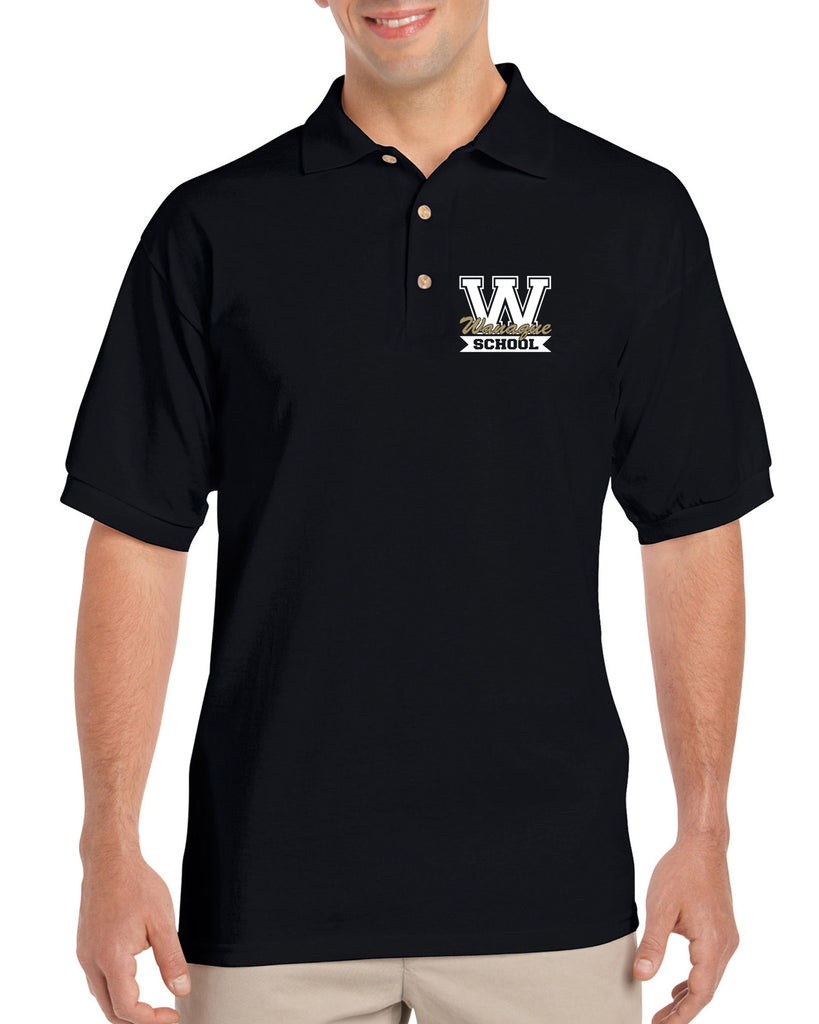 "WANAQUE School Black Short Sleeve Polo Sport Shirt w/ WANAQUE School ""W"" Logo on Front Left."